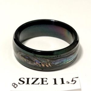 Black Tone Ring with Abalone Shell inlay, Sz 11.5